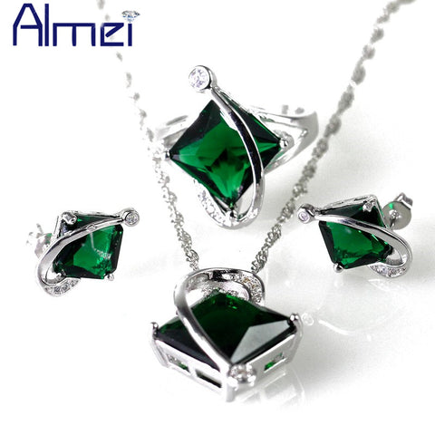 Almei 49% off Square Jewelry Sets Green Rhinestone Jewellery Bijoux Parure Femme Accessories Wholesale China Luxusmarke T295