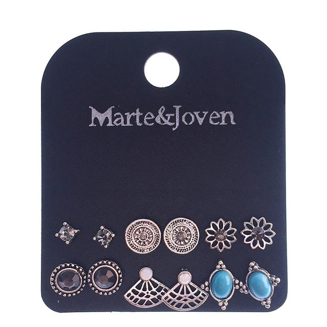 Marte&Joven 6 Pairs Assorted Multiple Round/Oval/Sector Vintage Stud Earrings for Women Alloy Geometric Rhinestone Earring Sets