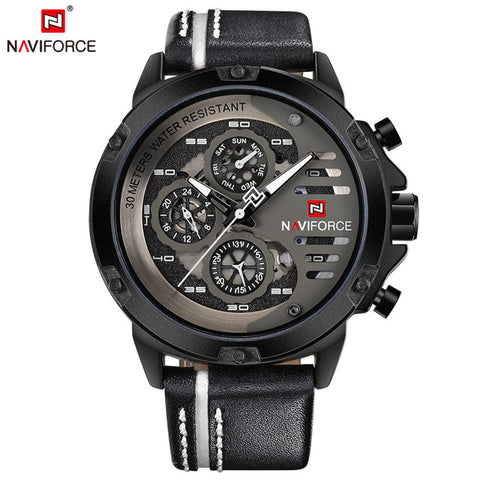 NAVIFORCE Top Brand Luxury Waterproof 24 hour Date Quartz Watch Men's Watches Man Leather Sport Wrist Watch Men Waterproof Clock