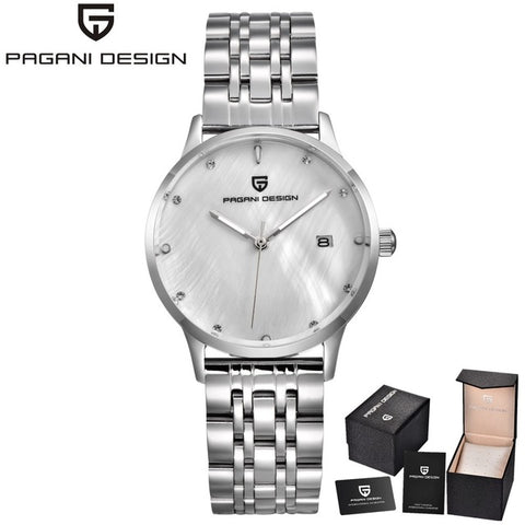 PAGANI DESIGN Brand Lady Fashion Steel Quartz Watch Women Stainless Waterproof  Relogio Femininoshell dial Luxury Dress Watches