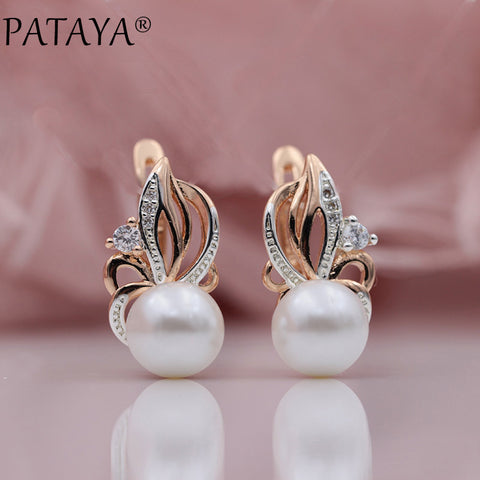 PATAYA New Women Exclusive Flame Type 585 Rose Gold Shell Pearls Drop Earrings White Natural Zircon RU Hot Party Wedding Jewelry