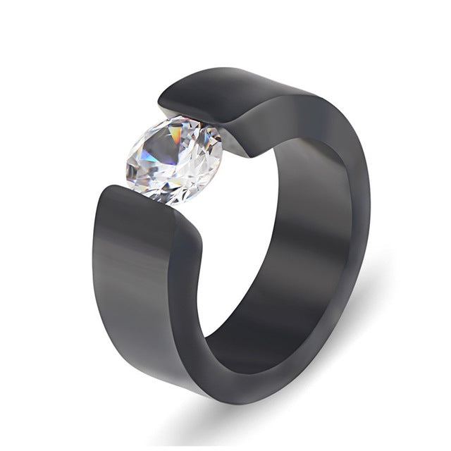 Fashion Stainless steel Black Ring Wedding Bands Jewelry Engagement Promise Ring for Women CZ Stone Rings Dropshipping