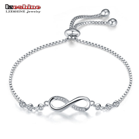 LZESHINE Trendy Silver Color New 8 Shape Geometric Adjustable Charm Bracelets & Bangles For Women Fashion Jewelry gift