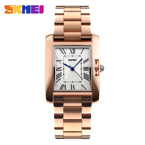 SKMEI Brand Luxury Ladies Watches Fashion Quartz Wristwatch Rose Gold Femme Clock Stainless Steel Wristwatch Relogio Feminino