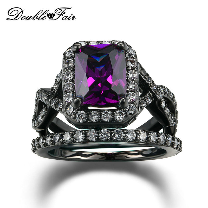 Purple Crystal Fashion Ring Set Black Gold Color Crystal Engagement Jewelry Wedding Rings For Women DFR480