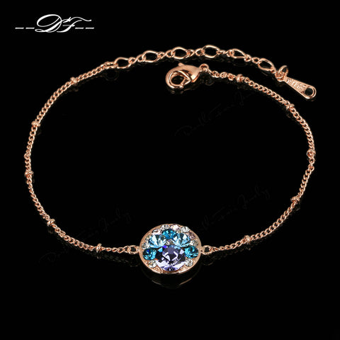 Shiny AAA+ Crystal Hand Chain Bracelets & Bangles Rose Gold Color Fashion Brand Vintage Bracelet Jewelry For Women DFH170