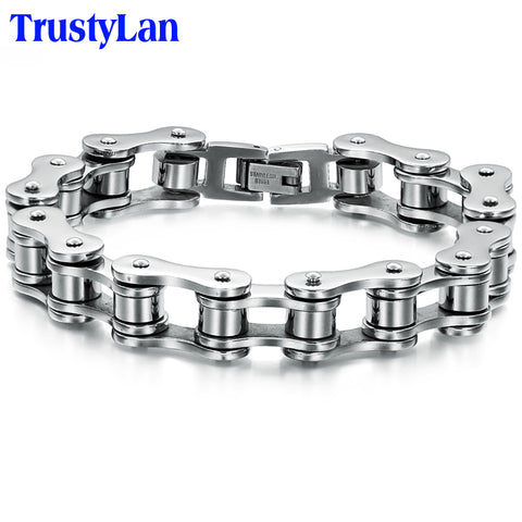 TrustyLan Punk Stainless Steel Bracelet Men Biker Bicycle Motorcycle Chain Mens Bracelets & Bangles 2018 Fashion Jewelry Gifts