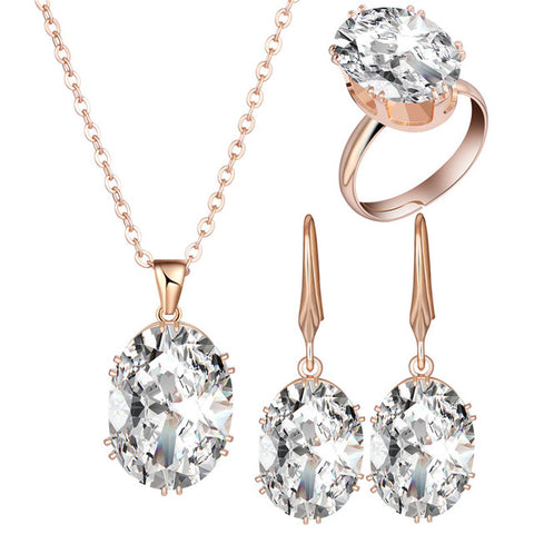 2018 Top Quality Luxury Rose Gold Engagement Jewelry Sets Cubic Zircon for Women Bridal Wedding Earrings Sets with rings