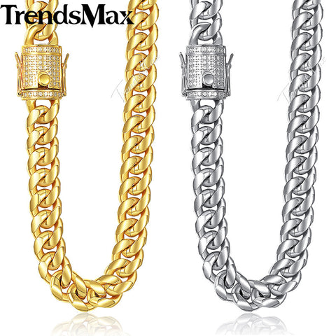 Trendsmax Miami Curb Mens Necklace Chain 316L Stainless Steel Iced Out Cubic Zirconia CZ Gold Silver Color 12/14mm 30inch KHNM21