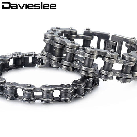 Davieslee Biker Motorcycle Mens Bracelet Chain Gunmetal Matte 316L Stainless Steel Punk Jewelry Wholesale 12-24mm LHB423