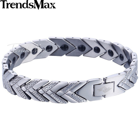 Trendsmax Watch Band Arrow Bracelet Mens Womens Stainless Steel Wristband Bangle Link Chain Silver Gold Tone 11mm KKBM147