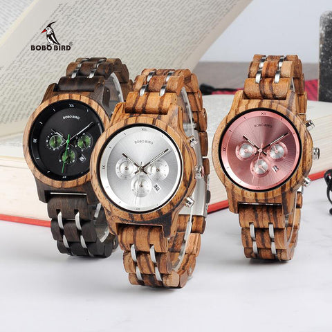 BOBO BIRD V-P18 Luxury Unique Wood 40mm Dial Watches Women Clock Functional Stop Watch saat with Date Display