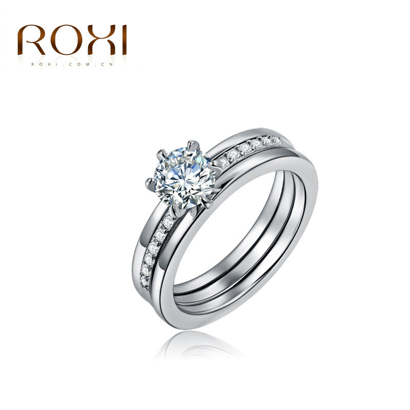 ROXI Charm Lovers Ring Set Bijoux Femme Fashion Jewelry Bijoux Silver Zircon Engagement Wedding Rings For Women Men Anel Size 9