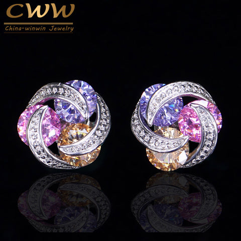CWWZircons Gorgeous CZ Jewelry Geometric Revolving Multi Color Cubic Zirconia Cute Women Stud Earrings Wholesale Price CZ312