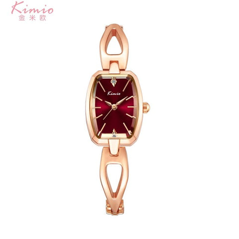 2018 New Hot Sale Kimio Tonneau Ladies Watch Women Skeleton Female Wrist Quartz Bracelet Strap Luxury Brand Rose Gold Clock Gift