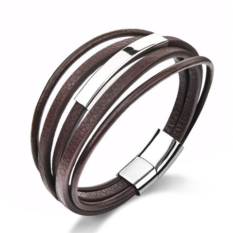 Jiayiqi Fashion Multilayer Leather Bracelet for Men Stainless Steel Bracelet Bangles Black/Brown Rope Chain Jewelry Gifts