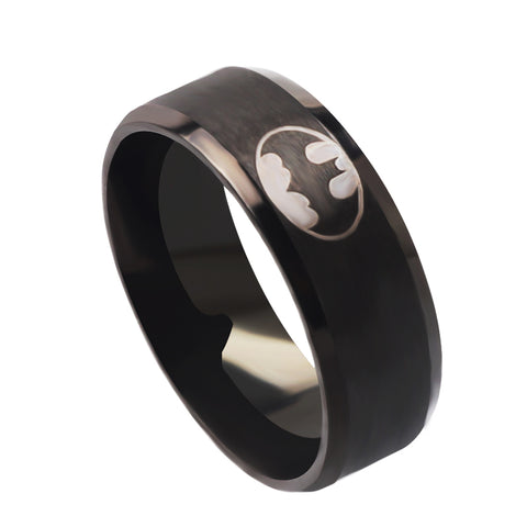 QianBei High Polish 2015 Boys Men Black Batman Symbol 316L Stainless Steel Rings For Men Women Party Ring Bat men's rings