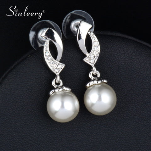 SINLEERY Women White/Gray Imitation Pearl Earrings Drop 2018 New Fashion Wedding Jewelry Gifts Es195 SSD