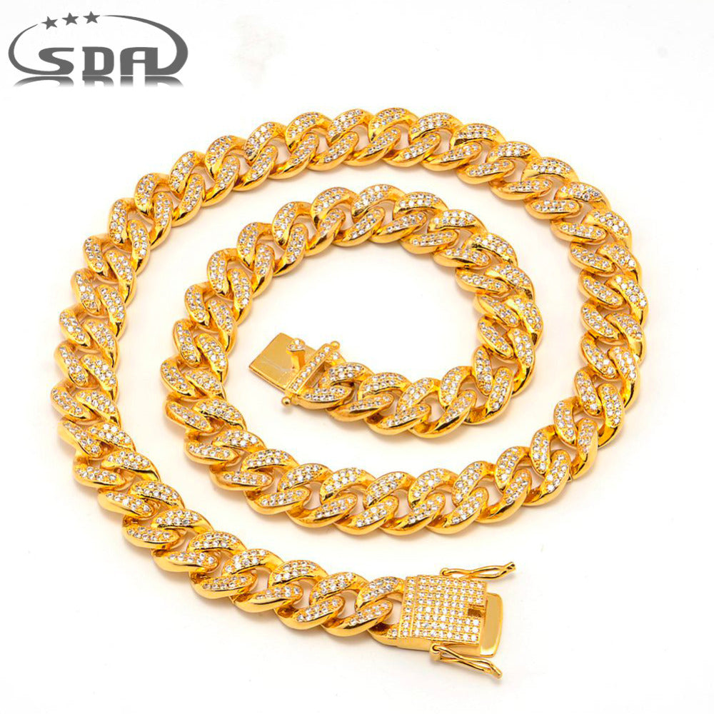 SDA Hiphop Men Necklace Chain Iced Out Miami Curb Cuban Gold-color AAA CZ Stone Inlaid 12mm 18mm Wide 24inch Top Quality N1758