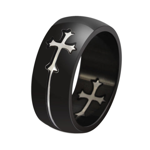 Vnox Separable Cross Ring for Men Woman Black Color Stainless Steel Cool Male Casual Remove Design Jewelry Wedding Band