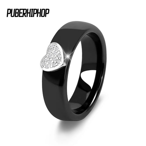 2018 Brand Fashion Women Ceramic Rings Jewelry Luxury Bling Stone Lovely Heart Love Women Wedding Ring Good Quality