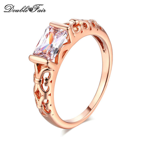 Double Fair Brand Unique Red Crystal Rings Rose Gold Color / Silver Tone Fashion Retro Engagement Ring Jewelry For Women DFR368