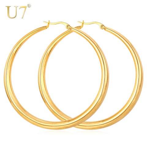 U7 Gold Color Hiphop Big Hoop Earrings Stainless Steel Women Jewelry Minimalist Circle Round Huggie Earring Mother's Gift E365