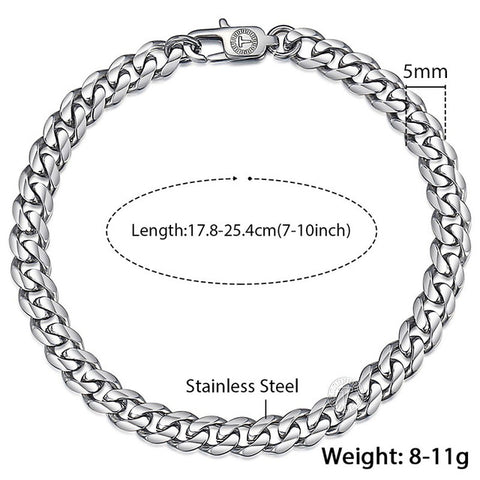 Davieslee Mens Bracelet Chain Stainless Steel Polished Silver Gold Black Tone Curb Cuban Link 3/5/7/9/11mm KBM218