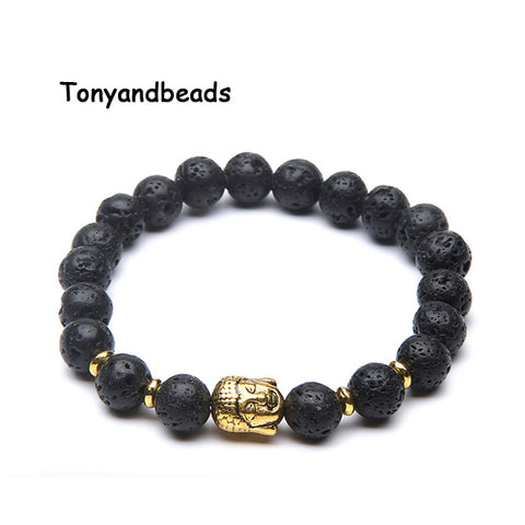 Free Shipping Natural Stone Beads Bracelet Antique Gold Buddha Charm Bracelets & Bangle For Women or Men No.NB4