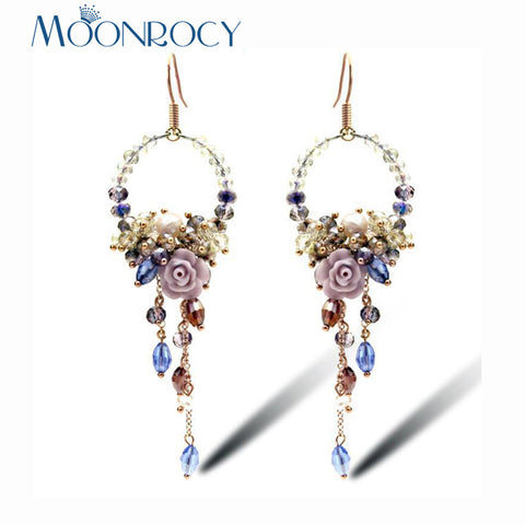 MOONROCY Rose Gold Color Tassel Earrings For Women Bohemia Long Cute Colourful Crystal Earring Drop Shipping Wholesale Gift