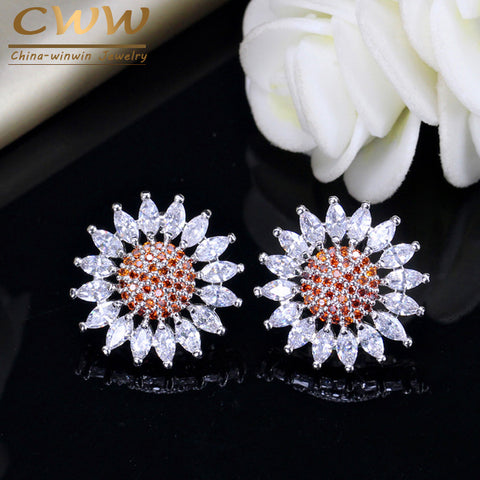 CWWZircons Designer Silver Color CZ Orange Red Crystal Summer Flower Stud Earrings Jewelry For Ladies Fashion Accessories CZ040