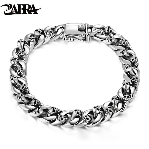 ZABRA Authentic 925 Sterling Silver 8mm Skull Bracelet Link Chain Mens Bracelet Vintage Thai Silver Punk Bracelets Men Jewelry