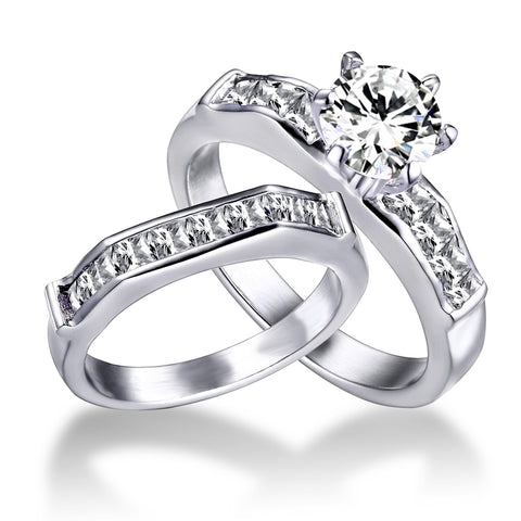 2pcs/lot Engagement Ring Stainless Steel Wedding Ring Sets,AAA CZ Zircon,Square Zircon And Round Zircon, Free Shipping