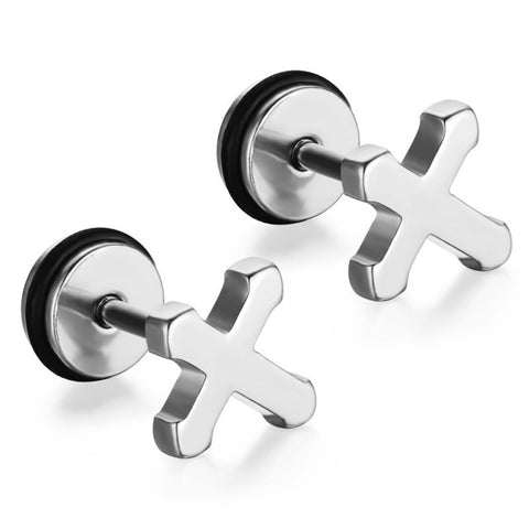 Meaeguet Trendy Gold Tone Stainless Steel Cross Stud Earrings Simple Small Earring For Women Men Party Jewelry