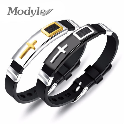 Modyle New Punk Stainless Steel Gold Silver Color Cross Silicone Strap Bracelet For Men