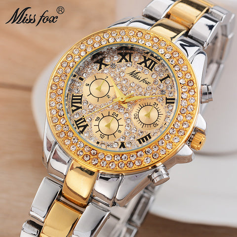 Miss Fox Causal Ladies Watch Fashion Brand Roman Numerals Diamond Cheap Wrist Watches Women Waterproof Shockproof Quartz Watch