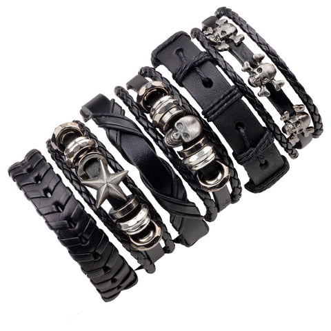 FUNIQUE Leather Bracelet Men Multilayer Punk Skull Star Charm Wrap Bracelets for Women Vintage Bracelets & Bangles Men Jewelry