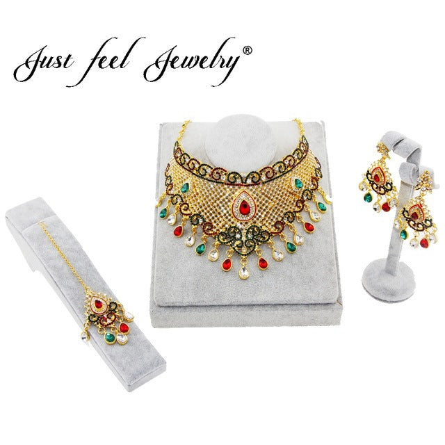 JUST FEEL Trendy Rhinestone India Kundan Crystal Jewelry Set For Women Luxury Dubai Gold Color Classic Royal African Jewelry Set