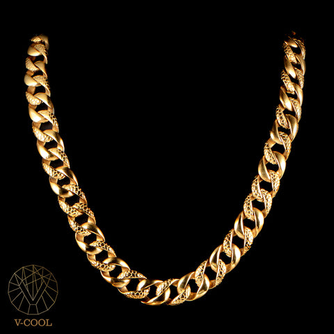 Freeshipping Punk Chunky Figaro Link Chain Men Necklace Titanium Personalized Gold Cuban Biker Masculine Chain Necklace VN017