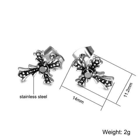 D&Z Religious 1 Pair Crystal Screw-back Cross Earrings Stainless Steel Gift Charm Stud Earrings for Christian Jewelry