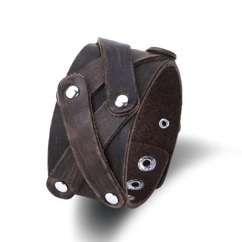 Men Jewelry Leather Men Punk Bracelet Wristband Belt Buckle Unisex Leather Bangle Cowboy Bracelet manchette bracelet femme