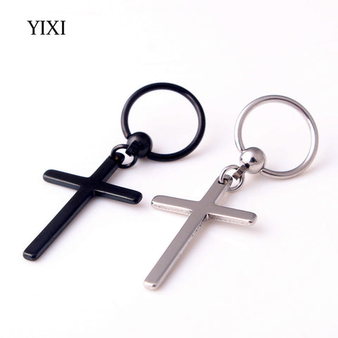 YIXI New Circle Round Cross Earrings For Men Stainless Steel Pendant Stud Earrings Punk Rock Captive Bead Male Earrings Jewelry
