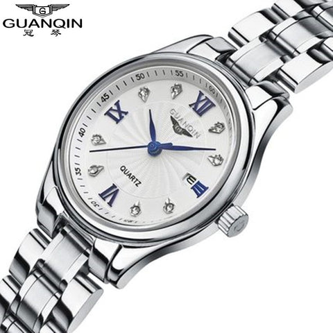 Brand Sapphire GUANQIN Watch Diamond Quartz Watches Woman Girls Watch 2017 Luxury Women Dress Rhinestone Lady Watch Clock Women