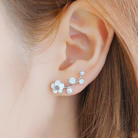 SMJEL New Crystal Branch Pearl Flower Stud Earrings For Women Blossom Flower Silver Earings Bijoux Jewelry Brincos Mujer Gift