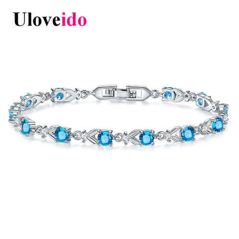Uloveido Blue Crystal Bracelets for Women Women's Bracelet and Bangles Charms Jewelry Wedding Jewellery Decorating Gifts BR0173