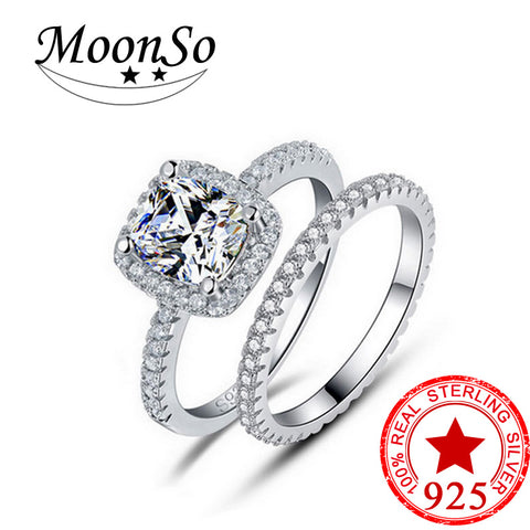 Moonso Real 925 Sterling Silver Ring set Engagement O Finger bridal groom jewelry for Women  unique jewelryLR1090S