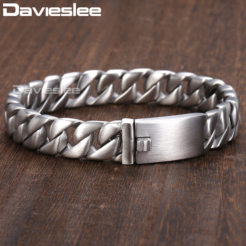 Davieslee 11mm Bracelet for Men Matte Round Curb Cuban Link 316L Stainless Steel Bracelet Mens Jewelry DLHB162