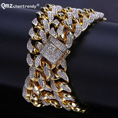14mm Mens Copper Curb Cuban CZ Chain Necklaces Hip hop Men Necklace With Luxury Box Clasp Punk Bling Iced Out Jewelry