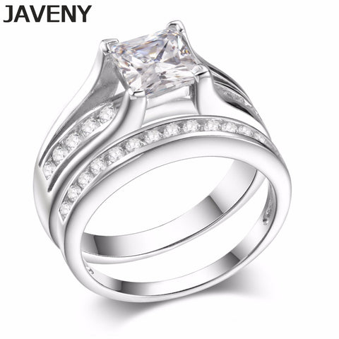 925 Sterling Silver Princess Cubic Zirconia Womens Girls Engagement Bridal Wedding Rings Sets Birthday Gifts 8pcs Lot Wholesale