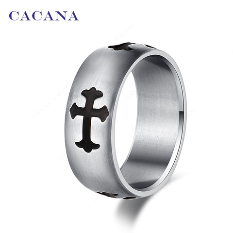 CACANA Titanium Stainless Steel Rings For Women Cross Symbol Stainless Steel Fashion Jewelry Wholesale NO.R33